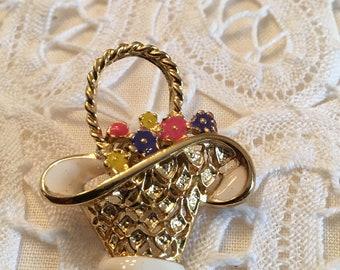 Flower Basket Pin Brooch ~ Goldtone ~ Vintage