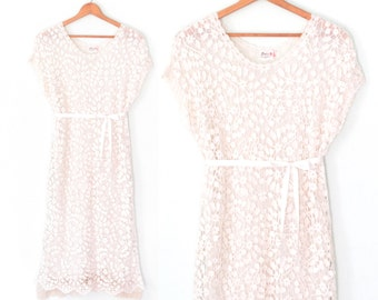 vintage lace dress * white dress * floral lace dress * shift dress * m / l