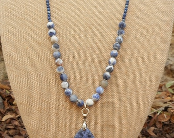 Womens Beaded Necklace Blue Sodalite Pendant Extra Long Necklace Beaded Leather Necklace Mothers Day Gifts for Her Boho Necklace