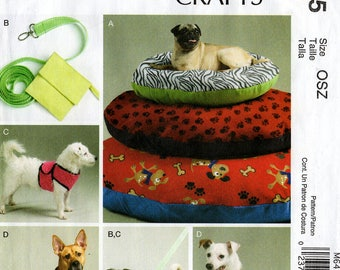 Uncut DOG BEDS COATS Leash Case Harness Vest Pattern McCalls #6455 Size Small - 5X Sewing