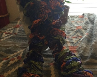 Blue, Olive, Rust and Brown Spiral Scarf