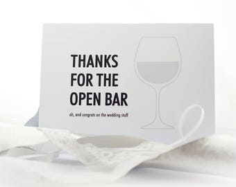 "Funny Wedding Card ""Thanks for the Open Bar"" Wedding Gift Marriage Gift Bride and Groom"