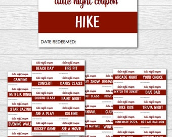 70 Date Night Coupons for Valentine's Day or Anniversary - Great Gift - INSTANT DOWNLOAD DIY