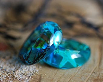Ocean Ring, Blue Mermaid Ring, Summer Sea Ring, Starfish Ring, Nacre Ring, Blue Statement Resin Ring, Mermaid Gift Jewelry, Bohemian Ring