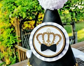 Black Tie Party Hat   Prince Party   King Party Hat   1st Birthday  Black Chevron   Little Prince Birthday   Golden Crown   Boy Birthday