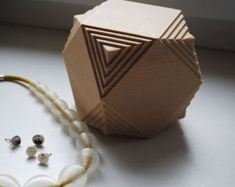 Cube 3d printed Jewelry Box, Polygonal, Wooden 3D Printed material