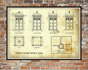 Tardis Print Poster, Dr Who Blueprint, The Tardis Blueprint 2006, Art of The Tardis, Whovian Gift - Police Box Print Art Item 0213