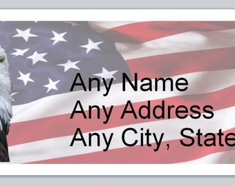 30 Personal Return Address Labels US Flag Eagle (ac 634)