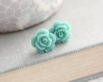 Teal Blue Rose Stud Earrings Surgical Steel Posts Little Flower Earrings Tiny Rose Studs Nickel Free Small Gift Items Cute Stocking Stuffers