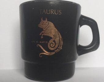 Vintage Taurus Zodiac Horoscope Mug