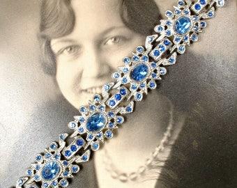 Vintage 1930s Sapphire Bracelet,Paste Rhinestone Silver Link Art Deco Something Blue Old Bridal Bracelet,Antique Navy Gatsby Flapper Jewelry