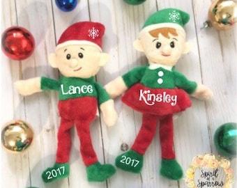 Personlized Elf, Christmas Elf, Plush Elf, Stocking Stuffer, Childrens Plush Toy, Holiday Elf, Christmas Gift,