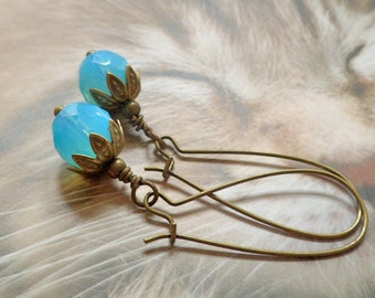 Aqua blue earrings fancy brass everyday dangle long earrings sky blue