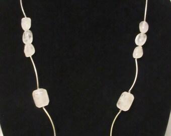 Rock Crystal Quartz Jewelry, Handmade Clear Quartz Necklace, Reversible Quartz Necklace, Handmade Silver Noodle Necklace, Handmade Jewelry