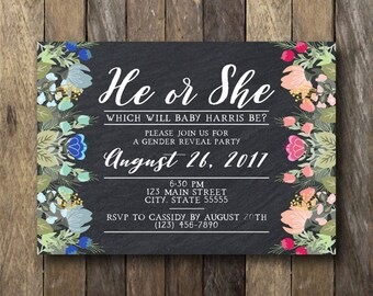 Floral Gender Reveal Invitate - He or She Invitation