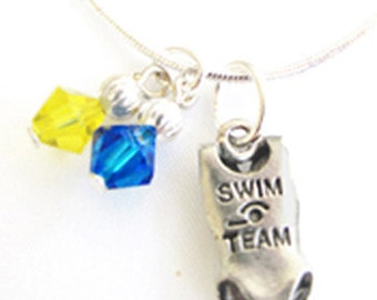 Swim Necklace,Personalized,Team Colors,Swarovski Necklace,Swim Gift,Girl Necklace,Swim Coach,Team Gift,Swim Charm,Swim Mom, (Made to Order)