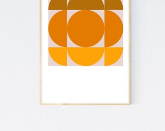 Hudson  - Orange Brown Retro Geometric 1950's Mid Century Modern style vintage art print