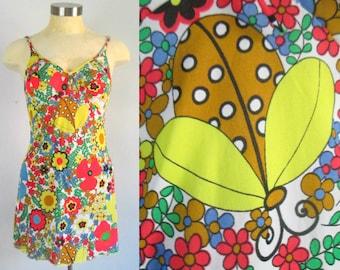 Mod Mini Babydoll Nightie Full Slip Ladybugs and Flowers