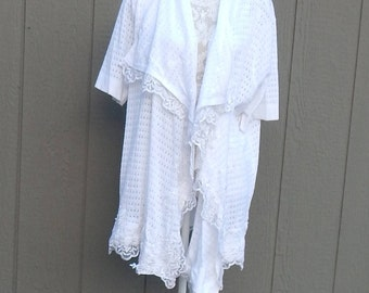 Altered Women's White Lacy Shrug,Altered Couture- 2 X, Lace Ruffled Trim, Shabby Chic Top, Romantic Sweater. Victorian Shrug,Loose Shrug