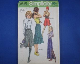 70s Skirt Pattern - Simplicity 9515 - Size 12, Waist 25 1/2 Misses - 4 skirt options