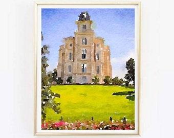 Manti Temple Watercolor Print