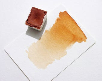 French Orange Ochre - Handmade Watercolor Paint - Art Supply - Artist Gift - Art Paint - Handcrafted Professional Watercolour