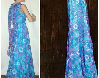 Blue Chiffon Formal Dress 60s 70s Shoulder Baring Prom Dress / Evening Gown / Special Occasion Dress