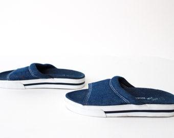size 7 PLATFORM 80s 90s DENIM mules slip on GRUNGE sandals