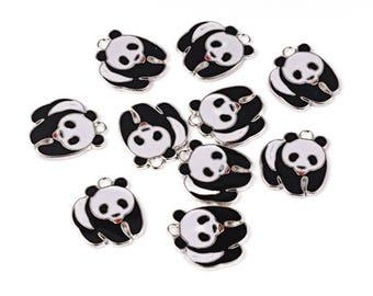 Panda Enamel Silver Plated Charms Pendants 21mm x 23mm (005)