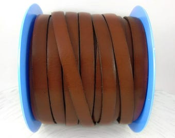 European 10mm cognac brown flat leather cord - Genuine brown leather - DIY bracelets or crafts - Made in Spain - Choose length