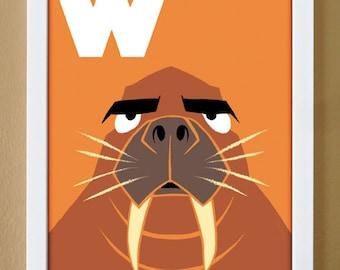 alphabet letter W, walrus, custom colors, alphabet letter print, children's letter art, nursery art, kids initials, 4X6, 5X7, 8X10