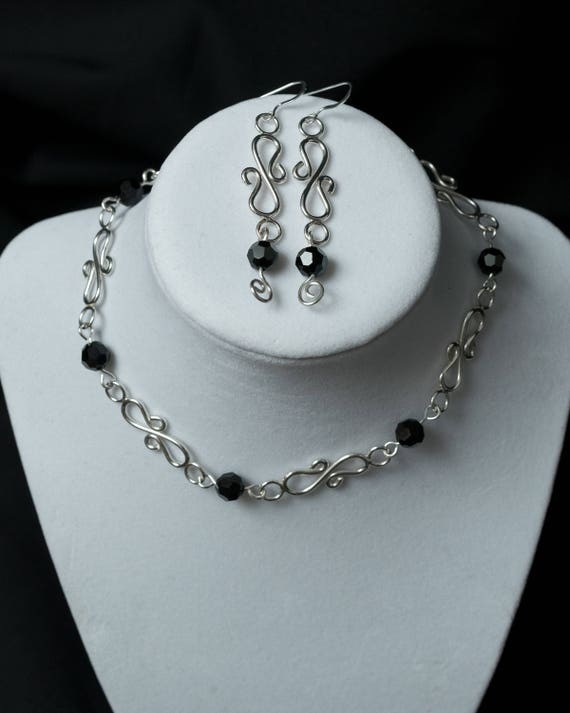 Silver Choker, Choker Necklace, Silver with Black Crystals, Swarovski Crystals, Necklace and Earrings, Necklace Set.