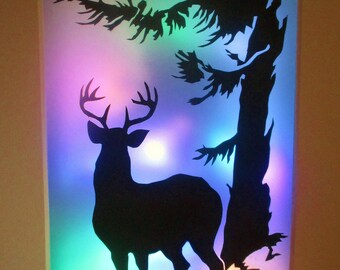 The Stag cut by hand Light up picture in rainbow light
