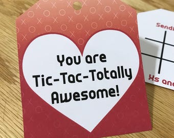 INSTANT DOWNLOAD (Digital) You are Tic Tac Totally Awesome - Tic Tac Toe Valentines Tag - Red, White, and Black - X and O, Heart