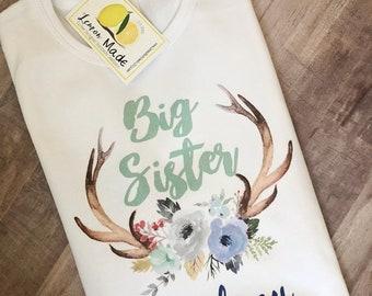 Big sis antler shirt with name big sister shirt
