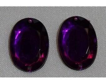 oval acrylic rhinestones - 18mm x 13 mm - purple