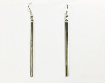 long bar earrings, silver bar earrings, simple earrings, minimalist earrings