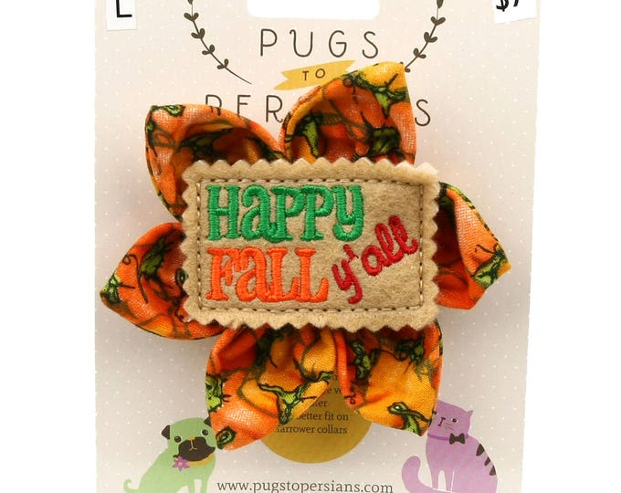 Thanksgiving Dog Bow - Happy Fall Y'all on Pumpkins - Flower - Collar Blossom - Large Size