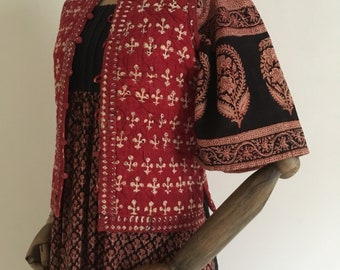 Vintage 70's Boho block club print quilted vest /70s Indian cotton print waistcoat