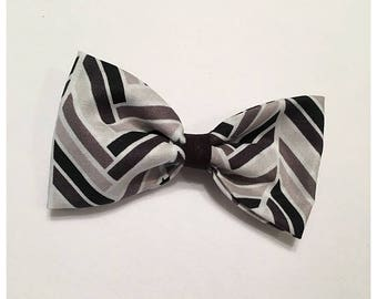 Black, Gray and White Hairbow, Hairbow, Black Hairbow, Gray Hairbow, Pattern Block Hairbow, Bows, Bowtie, SozBows