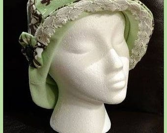 Peppermint Patty ~ Handcrafted from recycled clothing, Cloche, Flapper Style, Chemo Hats