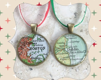 Gift for Teacher 2 Christmas Ornaments Maps Custom Cities 25mm  Gift for Boss or Coworker Set of 2  Bronze  Small Size