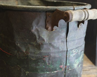 Vintage Distressed Copper Boiler Pot With Aged Patina // Wood Handles //  Shabby Chic // Wedding // Holiday Decor