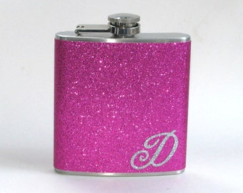 Your Color Choice Personalized Sparkly Glitter 6 or 8 oz Size Stainless Steel Liquor Hip Flask Flasks Weddings Bridesmaids Gift Idea