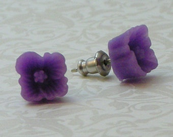 Square Flower Earrings - Lavender Purple