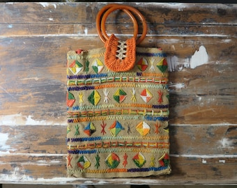 60's - 70's Colorful Woven Beach Comber Bag
