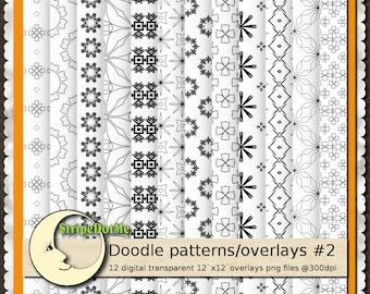 "12 Digital Doodle Patterns Transparent Overlays 12"" Papers - Instant Download - Commercial Use 00106"