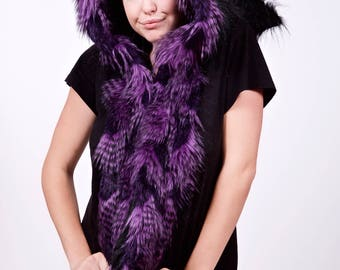 Black and Purple Faux Feather Fur Elf Scoodie, Winter Warm Hood, Christmas Costume, Fairy Festival, Burning Man, Rave, LARP