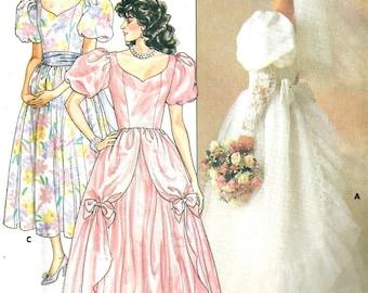 Wedding Dress Pattern  1980's Butterick 3685  Size 14 Bust 36 Princess Costume