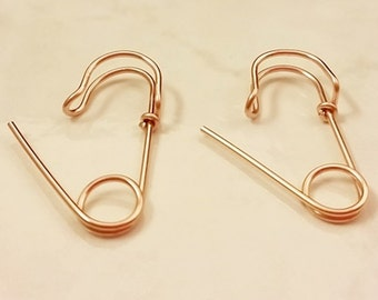 14K Rose Gold Filled Safety Pin Earrings, one inch long